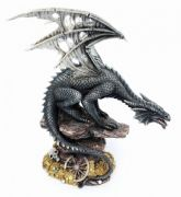 Dark Dragon Treasure Guardian Statue Figurine Ornament Sculpture Gothic Gift